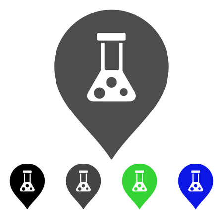 Chemical Map Marker flat vector illustration. Colored chemical map marker, gray, black, blue, green pictogram versions. Flat icon style for application design.