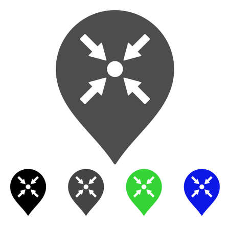 Meeting Point Marker flat vector pictogram. Colored meeting point marker, gray, black, blue, green pictogram variants. Flat icon style for graphic design. Illustration