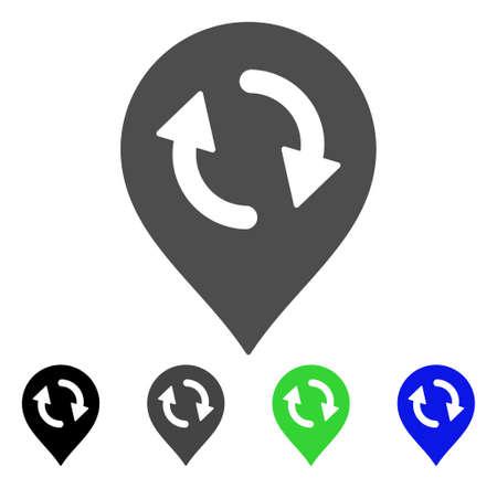 マップマーカーフラットベクトルアイコンを更新します。色の更新マップマーカー、グレー、黒、青、緑のピクトグラムのバージョン。アプリケー  イラスト・ベクター素材