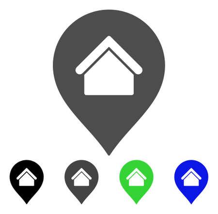Residence Marker flat vector illustration. Colored residence marker, gray, black, blue, green pictogram variants. Flat icon style for web design.