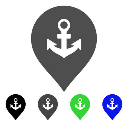 Sea Port Marker flat vector pictograph. Colored sea port marker, gray, black, blue, green pictogram variants. Flat icon style for graphic design.