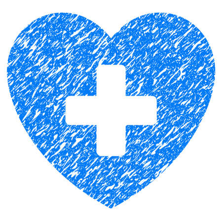 Grunge Cardiology icon with grunge design and unclean texture. Unclean vector blue pictogram for rubber seal stamp imitations and watermarks. Draft sticker symbol.