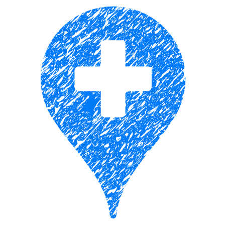 Grunge Clinic Map Pointer icon with grunge design and unclean texture. Unclean vector blue pictogram for rubber seal stamp imitations and watermarks. Draft emblem symbol.
