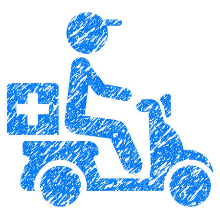 Grunge Drugs Motorbike Delivery icon with grunge design and dirty texture. Unclean vector blue pictogram for rubber seal stamp imitations and watermarks. Draft sticker symbol.
