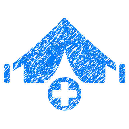 Grunge Field Hospital icon with grunge design and scratched texture. Unclean vector blue pictogram for rubber seal stamp imitations and watermarks. Draft sticker symbol.