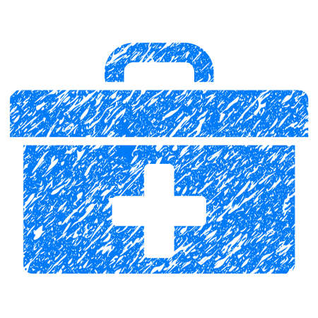 medical doctors: Grunge First Aid Toolbox icon with grunge design and dirty texture. Unclean vector blue pictogram for rubber seal stamp imitations and watermarks. Draft sticker symbol.