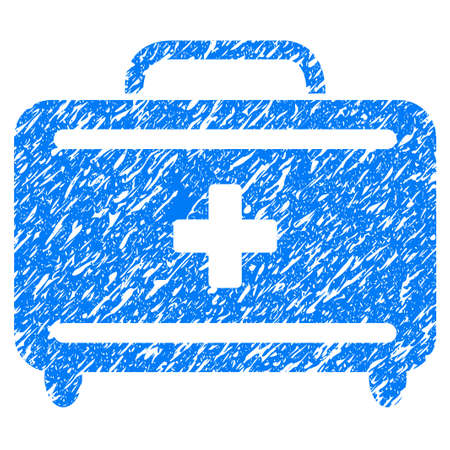 medical doctors: Grunge First Aid Toolkit icon with grunge design and dirty texture. Unclean vector blue pictogram for rubber seal stamp imitations and watermarks. Draft emblem symbol. Illustration