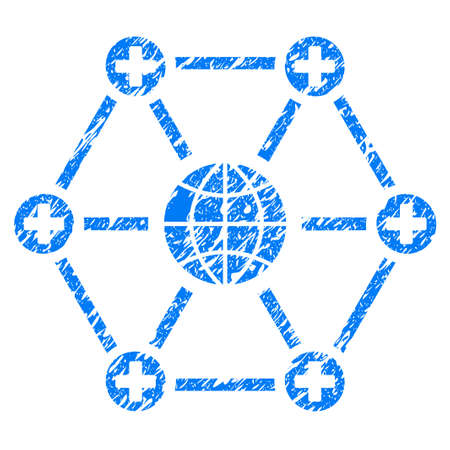 Grunge Global Medical Network icon with grunge design and scratched texture. Unclean vector blue pictogram for rubber seal stamp imitations and watermarks. Draft emblem symbol. Illustration