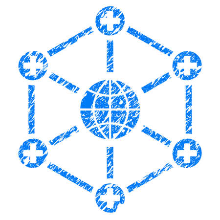 medical doctors: Grunge Global Medical Network icon with grunge design and dust texture. Unclean vector blue pictogram for rubber seal stamp imitations and watermarks. Draft emblem symbol.