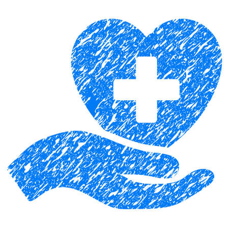 medical doctors: Grunge Hand Offer Cardiology icon with grunge design and dust texture. Unclean vector blue pictogram for rubber seal stamp imitations and watermarks. Draft emblem symbol. Illustration