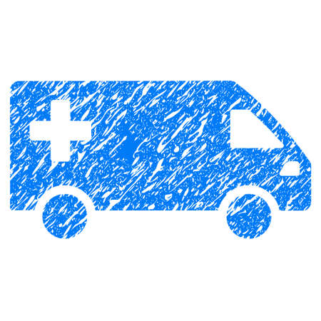 Grunge Emergency Van icon with grunge design and dust texture. Unclean vector blue pictogram for rubber seal stamp imitations and watermarks. Draft sign symbol.