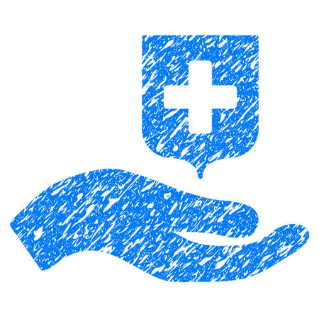 Grunge Hand Offer Medical Shield icon with grunge design and dirty texture. Unclean vector blue pictogram for rubber seal stamp imitations and watermarks. Draft emblem symbol. Illustration
