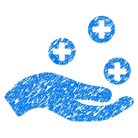 Grunge Hand Offer Medicine icon with grunge design and scratched texture. Unclean vector blue pictogram for rubber seal stamp imitations and watermarks. Draft emblem symbol.