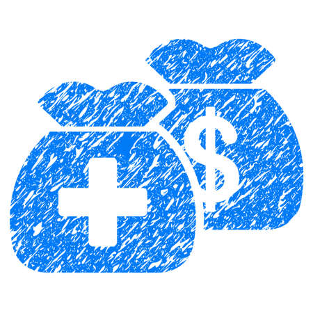Grunge Health Care Funds icon with grunge design and dirty texture. Unclean vector blue pictogram for rubber seal stamp imitations and watermarks. Draft sticker symbol.