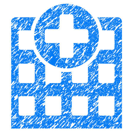 medical doctors: Grunge Hospital icon with grunge design and dirty texture. Unclean blue pictogram for rubber seal stamp imitations and watermarks. Draft emblem symbol.