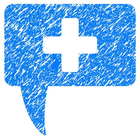 monologue: Grunge Medical Answer icon with grunge design and dirty texture. Unclean vector blue pictogram for rubber seal stamp imitations and watermarks. Draft sign symbol.