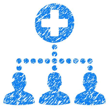 Grunge Medical Client Links-Symbol mit Grunge-Design und schmutzige Textur. Unreines blaues Piktogramm für Gummidichtungsstempelimitationen und Wasserzeichen. Entwurfsaufkleber-Symbol. Standard-Bild - 84219723