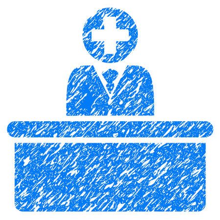 bureaucrat: Grunge Medical Bureaucrat icon with grunge design and unclean texture. Unclean vector blue pictogram for rubber seal stamp imitations and watermarks. Draft sign symbol.