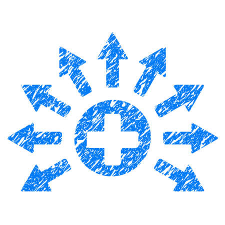 Grunge Medical Distribution icon with grunge design and dust texture. Unclean vector blue pictogram for rubber seal stamp imitations and watermarks. Draft sign symbol.
