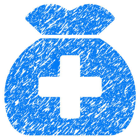 Grunge Medical Fund Sack icon with grunge design and scratched texture. Unclean blue pictogram for rubber seal stamp imitations and watermarks. Draft emblem symbol. Illustration