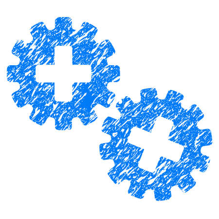 new addition: Grunge Medical Gears icon with grunge design and scratched texture. Unclean blue pictogram for rubber seal stamp imitations and watermarks. Draft sticker symbol. Illustration