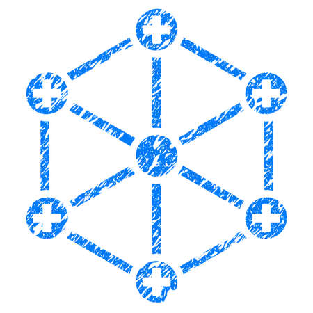 hubs: Grunge Medical Network icon with grunge design and unclean texture. Unclean vector blue pictogram for rubber seal stamp imitations and watermarks. Draft sign symbol.