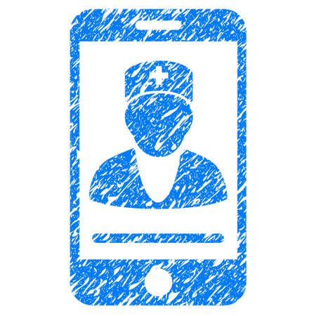medical doctors: Grunge Mobile Doctor icon with grunge design and unclean texture. Unclean blue pictogram for rubber seal stamp imitations and watermarks. Draft sticker symbol. Illustration