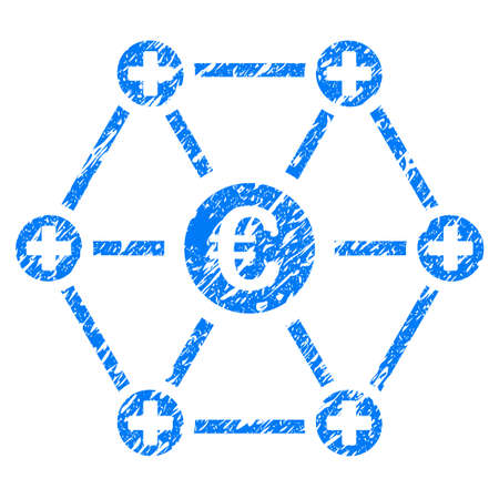 medical doctors: Grunge Euro Medical Network icon with grunge design and dirty texture. Unclean raster blue pictogram for rubber seal stamp imitations and watermarks. Draft emblem symbol. Stock Photo