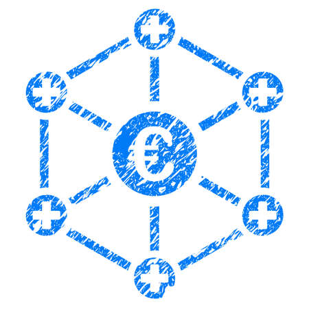 Grunge Euro Medical Network icon with grunge design and dust texture. Unclean raster blue pictogram for rubber seal stamp imitations and watermarks. Draft emblem symbol.