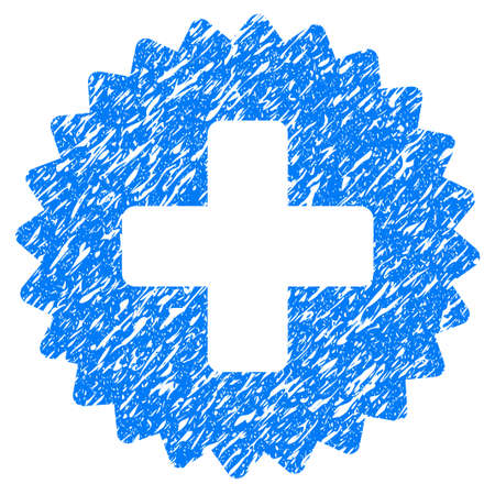 new addition: Grunge Health Care Stamp icon with grunge design and scratched texture. Unclean raster blue pictogram for rubber seal stamp imitations and watermarks. Draft emblem symbol. Stock Photo