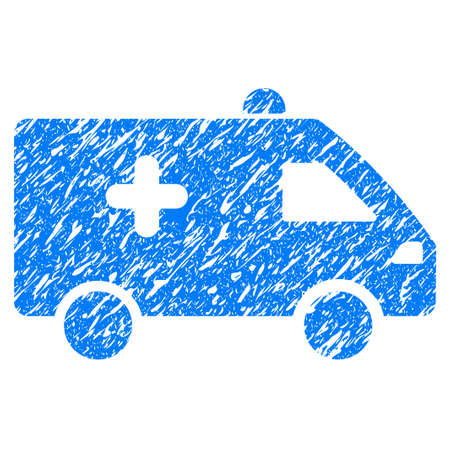 medical doctors: Grunge Hospital Car icon with grunge design and scratched texture. Unclean raster blue pictogram for rubber seal stamp imitations and watermarks. Draft sign symbol.