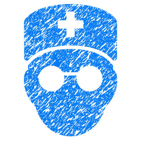 Grunge Medic Head icon with grunge design and dust texture. Unclean raster blue pictogram for rubber seal stamp imitations and watermarks. Draft sign symbol. Stock Photo