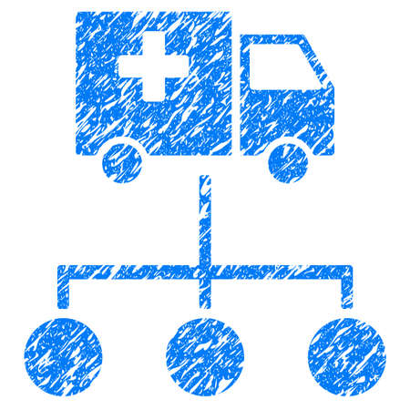 Grunge Medical Delivery Links icon with grunge design and dust texture. Unclean raster blue pictogram for rubber seal stamp imitations and watermarks. Draft emblem symbol. Stock Photo