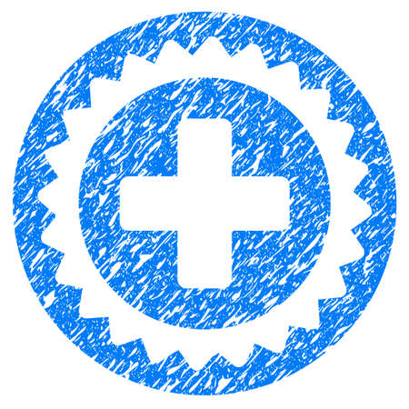 Grunge Medical Stamp icon with grunge design and dust texture. Unclean raster blue pictogram for rubber seal stamp imitations and watermarks. Draft sign symbol.