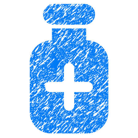 rubber tube: Grunge Medication Vial icon with grunge design and scratched texture. Unclean raster blue pictogram for rubber seal stamp imitations and watermarks. Draft emblem symbol.
