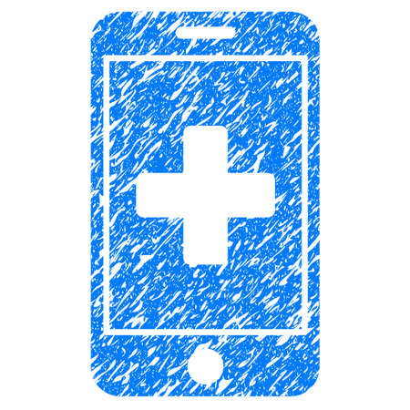 medical doctors: Grunge Mobile Medicine icon with grunge design and unclean texture. Unclean raster blue pictogram for rubber seal stamp imitations and watermarks. Draft emblem symbol.