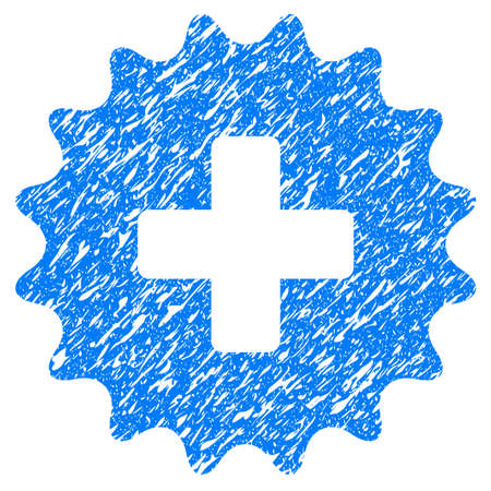 addition: Grunge Plus Stamp icon with grunge design and dirty texture. Unclean raster blue pictogram for rubber seal stamp imitations and watermarks. Draft sticker symbol.