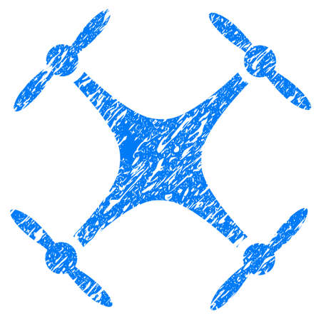 Grunge Airdrone icon with grunge design and unclean texture. Unclean vector blue pictogram for rubber seal stamp imitations and watermarks. Draft sign symbol. Illustration