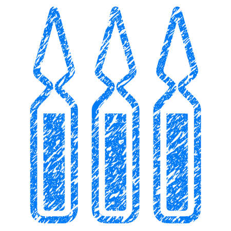 Grunge Ampoules icon with grunge design and dirty texture. Unclean vector blue pictogram for rubber seal stamp imitations and watermarks. Draft sign symbol.