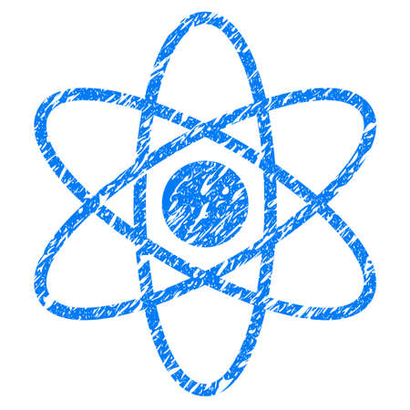 vector nuclear: Grunge Atom icon with grunge design and dirty texture. Unclean vector blue pictogram for rubber seal stamp imitations and watermarks. Draft sticker symbol.