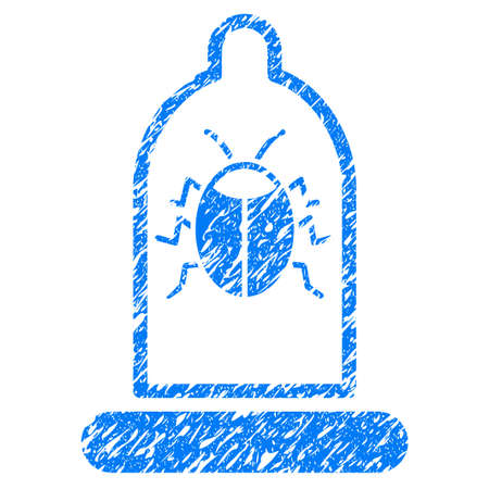 Grunge Bug Protection Condom icon with grunge design and scratched texture. Unclean vector blue pictogram for rubber seal stamp imitations and watermarks. Draft sign symbol.