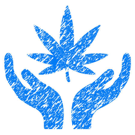 Grunge Cannabis Care icon with grunge design and dirty texture. Unclean vector blue pictogram for rubber seal stamp imitations and watermarks. Draft emblem symbol.