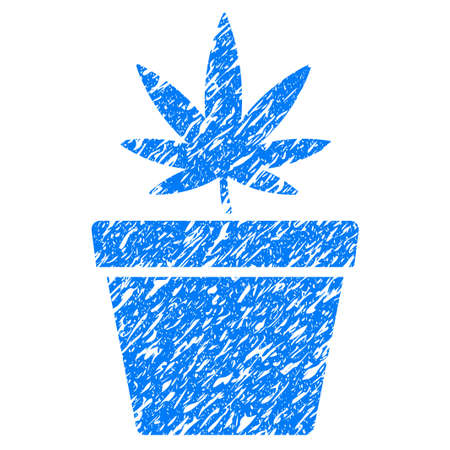 Grunge Cannabis Pot icon with grunge design and dirty texture. Unclean vector blue pictogram for rubber seal stamp imitations and watermarks. Draft sign symbol.