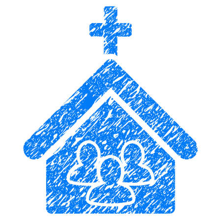 Grunge Church People icon with grunge design and scratched texture. Unclean vector blue pictogram for rubber seal stamp imitations and watermarks. Draft sticker symbol.
