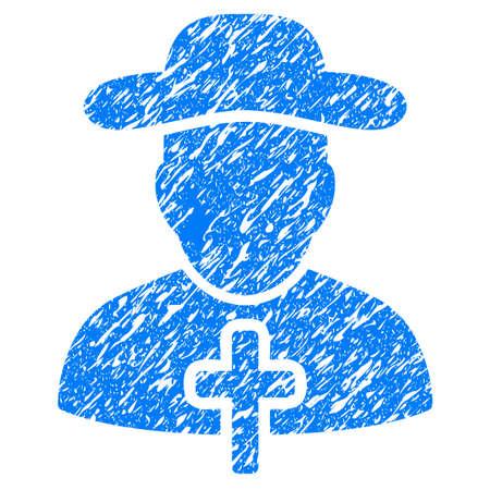 sotana: Grunge clérigo icono con el diseño del grunge y la textura del polvo. Pictograma azul impuro del vector para las imitaciones y las marcas de agua del sello del sello de goma. Símbolo de etiqueta de proyecto.