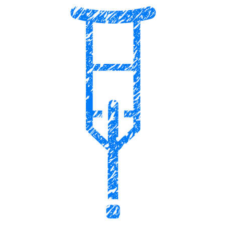 Grunge Crutch icon with grunge design and dust texture. Unclean vector blue pictogram for rubber seal stamp imitations and watermarks. Draft emblem symbol. Illustration