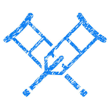 Grunge Crutches icon with grunge design and dust texture. Unclean vector blue pictogram for rubber seal stamp imitations and watermarks. Draft emblem symbol. Illustration