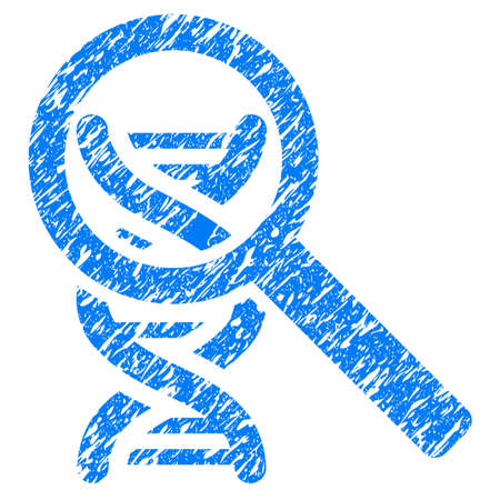 Grunge Explore DNA icon with grunge design and dirty texture. Unclean vector blue pictogram for rubber seal stamp imitations and watermarks. Draft sign symbol. Çizim