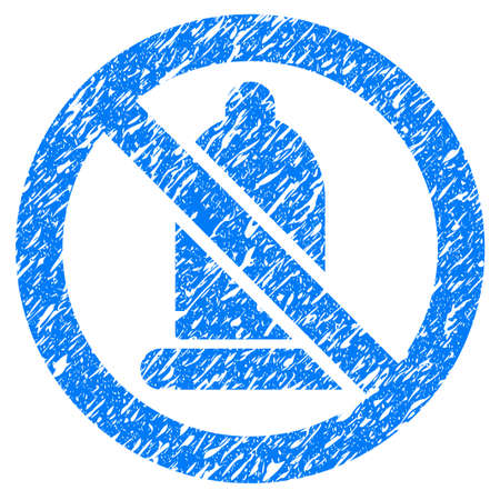 Grunge Forbidden Condom icon with grunge design and scratched texture. Unclean vector blue pictogram for rubber seal stamp imitations and watermarks. Draft emblem symbol.