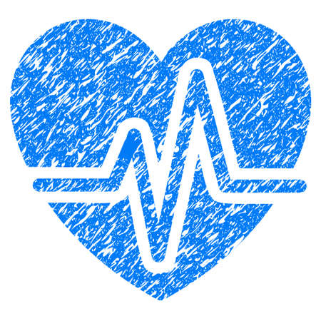 Grunge Heart Diagram icon with grunge design and dirty texture Illustration